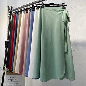 Croysier Summer Jupes En Nouvelle Taille High Taille Cravate Cadre Casual Casual Supe Jupe Femme Solide Élégante Jupe Midi Midi Vêtements 210305