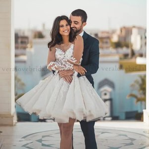 Vintage Robe De Marriage Lace White Short Wedding Dress 2021 Sheer Long Sleeves Scoop Boho Beach Bridal Gown