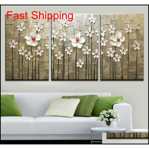 Stretched Frame Ready To Hang, 100%hand-painted Abstract Landscape Modern Blooming Flowers Tree Knife Oil Painting 3pc qyldUX bdetoys