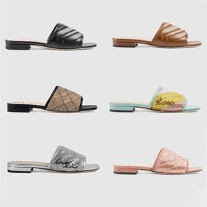 Designer Leather Slide Sandal Women Slides with Double G Horsebit Flats Sandals Black 28 Colors Ladies Sexy Summer Flip Flops With Box 274