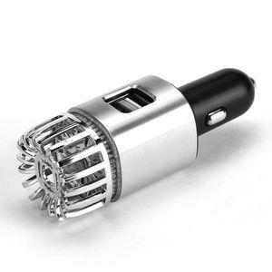 2 in 1 Car Dual USB Fresh Air Ionic Purifier Oxygen Bar Ozone Ionizer Smoke Generator For Cars Cleaner Car Air Ionizer Purifier