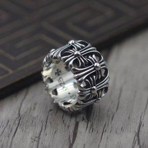 شخصية خاتم من الفضة النقية A57 S925 لاستعادة الطرق القديمة الخاتم للأبد للأبد الأزواج الفريدين