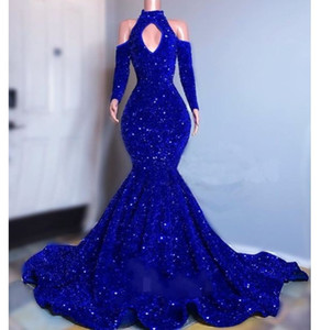 bling bling Royal blue Mermaid evening Dresses high neck 2021 long Sleeves Celebrity Party Gowns invierno Luxury vestidos de gala