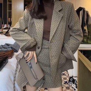 Temperamento da primavera e do período de outono e a nova celebridade web high-end socialite com saias femininos pano blazer