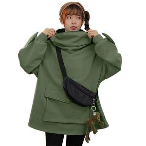 Harajuku Sweatshirt Women Hoodies Sweet Japan Top Creative Stitching Three-dimensional Cute Frogs Pullover Pocket 210910