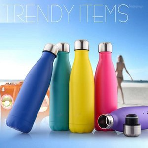 Double Walled Vacuum Insulated Water Bottle Cup Cola Shape Stainless Steel 500ml Sport Vacuum Flasks Thermoses Travel Bottles SEAWAY HWF9382