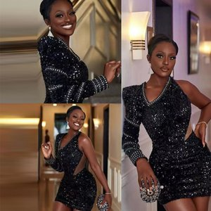 Black Sheath Sequin Homecoming Dresses One Long Sleeve Cutaway Sides Cocktail Party Gown Mini Skirt Special Occasion Dress