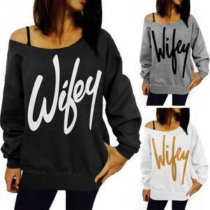 Wifey Women's T-Shirt Hoddies Sweatshirts New Hoodies Print Sweatshirt Off The Shoulder Tops Tee Hoddies Sweatshirts T-S1UVM