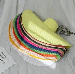 2021 Летний Большой Brim УФ Защита Соломенной Шляпы Сложенная Солнца Шляпа для Женщин Леди Девушки Оптовая Каникулы Негабаритные Пляжные Шляпы