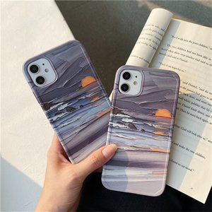 Ocean sunrise oil painting Photo frame Phone Case For iPhone 11 Pro X XS Max Xr 8 7 Plus Soft Silicon Back Cover