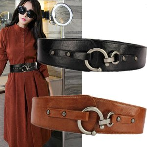 women's wide fashion simple belt versatile Elastic decoration with skirt coat sweater Leather Black waist cover