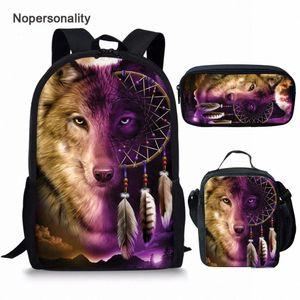 Nopersonalidade Impressão 3D Animal Wolf Mochila para escola meninos meninas legal crianças júnior primária crianças saco de escola crianças bagpacks backp n4vz #
