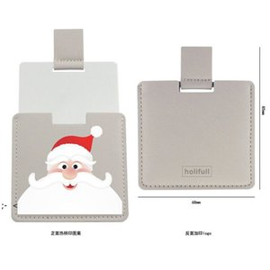 Christmas PU Leather Pocket Makeup Mirror Cartoon Travel Portable Mini Mirrors Creative Halloween Gift BWA8873