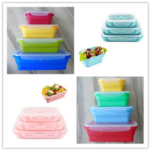 Food Storage Lunch Box microwave safe lunch box Silicone folding fresh-keeping boxes 4 piece suit colorful outdoor travel bento