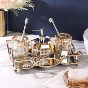 Bathroom Accessories Sets Crystal Glass Cup for Tooth Brushes Soap Dish Dispenser Bottle Home Hotel Wash Tools Toothbrush Holder