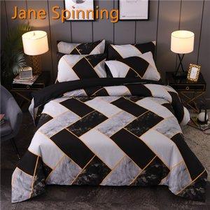 Jane Spinning Geométrie Duver Couvercle Couette Literie Set King Queen Couette Couverture Ensemble Blanc Black Literie Couverture WW33 # C0223