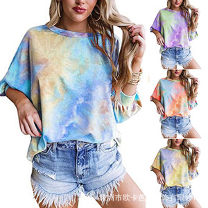 Autumn and winter 2020 new women's tie dyed 3   4 sleeve loose casual T-shirt for women