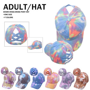 7 New styles Tie-dye Ponytail Hat Bucket Hat Criss Cross Ponytail Baseball Cap Newest Street Outdoor Sports Tide Hat LLA385