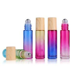 10 ملليلتر زيت الزيت الناشر زجاجة زجاجات الزجاج الأسطوانة لفة مع غطاء من الخشب الحبوب البلاستيكية والفولاذ المقاوم للصدأ التدرج اللون HH21-331