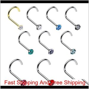 Rock Fashion Stainless Steel Colored Crystal Zircon Nose Studs Hooks Bar Pin Nose Rings Body Piercing Jewelry For Women Party Jewelry G4Ea1