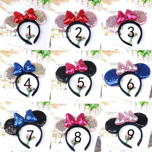 Ears Girl Cute Hairband Black Mouse Crown With Sequin Bow Kids Bling Glitter Bands Holiday Hair Accessories For C