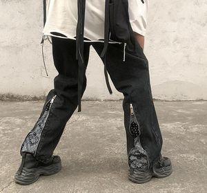 High New Kiryaquy Hombres Lujoso Paisley Craseros West Bloods Jeans Pantalones de algodón Denim Pantalones Comfort Casual Jeans ST-XL # D12