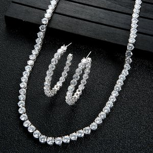 sexy Tennis Chain Necklace Earring Sets For Women Wedding Bijoux Whole HXN004