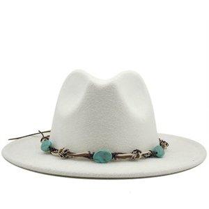 2021 New Fedora Hat Western Cowboy Jazz Caps Solid Wide Brim Band Belt Stone Luxury Handmade Winter White Black Women Men Hats 89j7