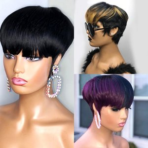 Ombre Blonde  Purple Green Short Pixie Cut Bob Human Hair Wigs With Natural Bangs For Black Women Brazilian Straight No Lace Front Wig