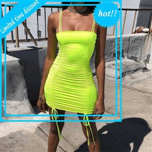 Echoine Summer Spaghetti Strap Mini Sexy Women Drawsting Designed Dress Party Club Outfits New