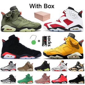 Stock x Nike Air Jordan 6 Jordan Retro 6 6s Travis Scott Jumpman Paire avec Box 2021 Carmine Men's Basketball Shoe Infrared Rabbit Technology Chrome Electric Green DMP shoe