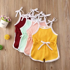 Kids Designer Clothes Baby Girls Suspender Rompers Infant Summer Cotton Breathable Jumpsuits Newborn Fashion Onesies Climb Clothes B823