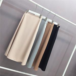 New 2021 Women Elegant Ol Ladies Glossy Satin Skirt Plain Shiny Fashion Party Office Solid High Waist Skirts HXGH