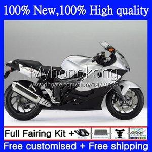 Bodywork +Tank cover For BMW K1200-S K1200 S K1200S 2005 2006 2007 2008 2009 2010 Body 4No.81 K Black Silver 1200S 05-10 K-1200S K 1200 S 05 06 07 08 09 10 Full Fairing Kit