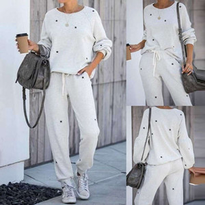 Women's 2pcs Women Tracksuit Pentagram Print Sets Leisure Lounge Wear Suit Jogger Sweatpant Loungewear 2 Pcs