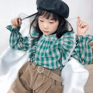 2020 Newest Baby Girls Plaid Blouse & Shirt Korean Style Toddler Kids Ruffle Sleeve Pleated Tops Autumn School Children Clothes C1031