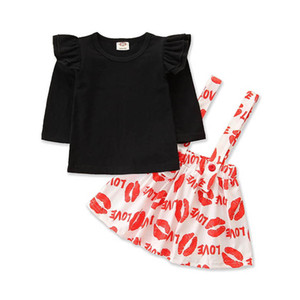 2021 New Love Girls Outfits Kids Suits Cotton Long Sleeve Tops T Shirt+Suspender Skirt 2Pcs Children Sets Clothes 1-6Y SM042