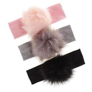 Baby Girl Headbands Solid Toddler Headwear Fur Pom Baby Girl Headwrap Newborn Kids Party Hairband Hair Accessories 9 Designs YL405