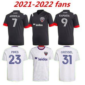 2021 2022 D.C. Jersey United Soccer Jersey Rooney Gessel Pines Arriola Flores Kamara 21 22 DC Noir Blanc Chemise de football Thaï Qualité 999