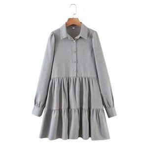 PUWD Casual mujer gris suelto en cascada volantes camisa camisa 2021 primavera moda damas mini vestidos femenino elegante vestido