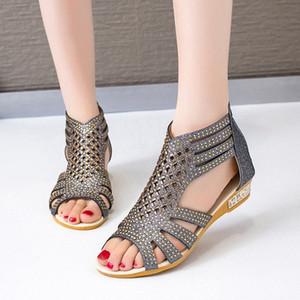 Sandalias clásicas Sandalias Gladiador Moda para mujer Hallow Out Shoes Summer Female mujer Cremallera Slip en Pisos Wowan Peep Toe Calzado 2020 Q2WP #