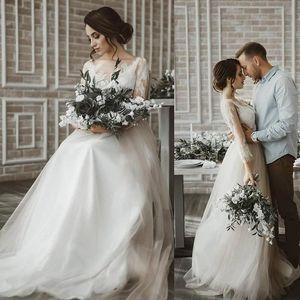 2021 Boho Tulle A-Line Wedding Dresses with 3 4 Long Sleeves Lace Applique Simple Country Wedding Dress Bridal Gowns vestido de novia