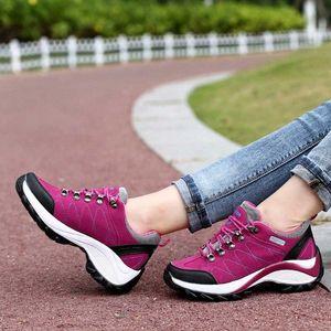 2020 Wanderschuhe Frauen Outdoor Trekking Schuhe Berg Walking Wasserdichte Wildleder Tracking Klettern Sneakers Gummi Sohle Schuhe Silber S S3sk #