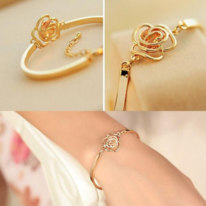 1pc Chic Women Hand Jewelry Hollow Out Rose Carving Crystal Bracelets