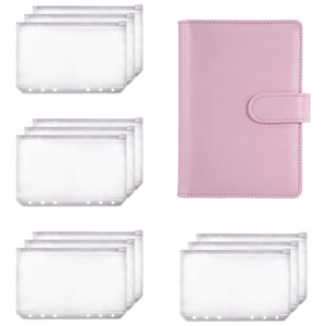 PPYY-A6 Binder Planner Pink Notebook Binder and 12 Pieces 6 Hole Zipper Folder,Binder Pockets Cash Envelope Wallet