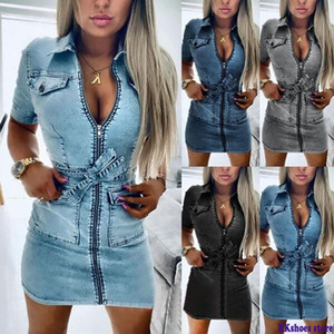 Women Fashion Short Sleeve Denim Dress Front Zipper Bandage Jeans Bodycon Pockets Dresses Ladies Lapel Slim Fit Mini Dress