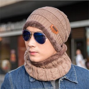 designer 11 colors Autumn and winter hat mens hats knit wool plus velvet thickening cap [hat + collar] sets NE-cap1