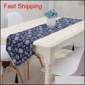 Retro Ethnic Style Printing Table Runner Blue Decorative Pattern Bed Flag Fabric Art Super Soft Unique Tables Cloth New Quality 23Qcb4 X1Elf