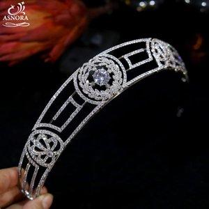Asnora Classic Style Style Queen Crown Body Tiaras CZ Crystal Headband Boda Tocado, Accesorios para el cabello de la fiesta