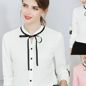 Solid Bow Tied Womens Shirt Blouses for Women With VNeck and Long Sleeves Elegant Ladies Clothing Female Office Blouse